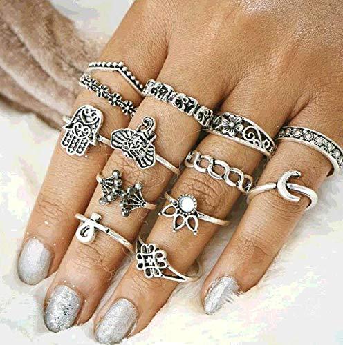 TseenYi Anillos bohemios para nudillos plateados, con diseño de luna y hamsa, anillos de ópalo apilables, estilo retro, para mujeres y niñas