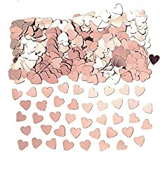 Package includes 1 pack Metallic Confetti. This colorful product makes your event sparkle like magic. Features heart shaped foil confetti sprinkles in rose gold color that is brilliant to brighten up your occasions. This confetti can be placed on tab...