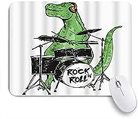 KAPANOU マウスパッド、動物音楽ロックンロールスター恐竜ドラム おしゃれ 耐久性が良い 滑り止めゴム底 ゲーミングなど適用 マウス 用ノートブックコンピュータマウスマット