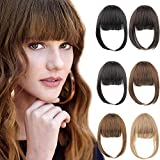 MORICA Clip in Bangs Hair Extensions Thin Fringe Front Clip on Bangs Straight Hairpiece with Temple for Women