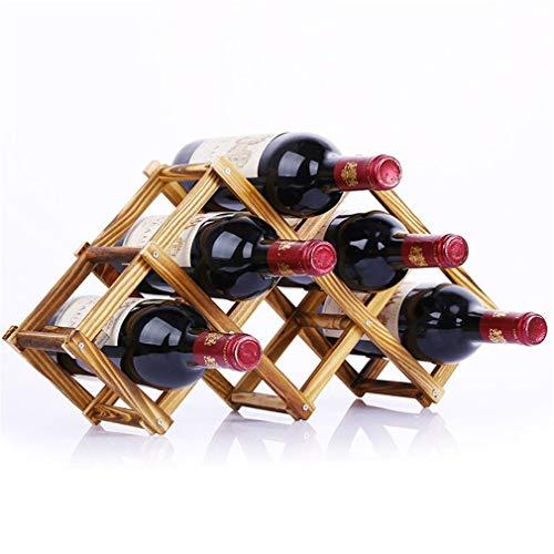 Periste Soporte de vino de madera Suplemento de cocina Pliegue Red Wine Rack Bebida Botella Soportes Portátil 3 6 10 Tenedor de botella Pantalla de barra Estante Bastidor de botellas de barras