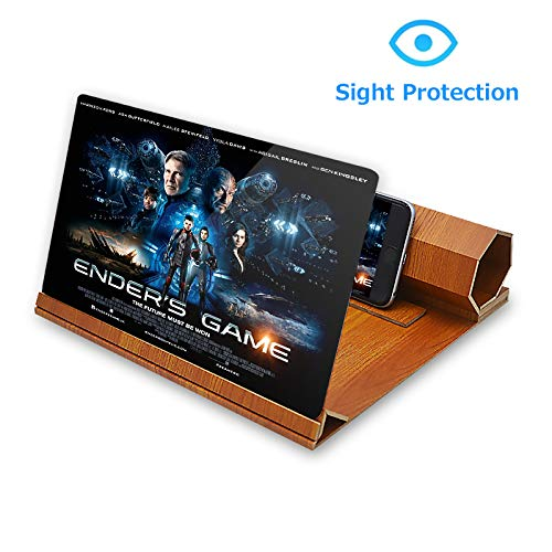"ORETECH Screen Magnifier, 12"" Foldable Smart Phone Screen Amplifier Projector Movie Video Enlarger Wooden Phone Holder Stand with 3D Screen Magnifying Amplifying Glass for All Smart Phone Model"