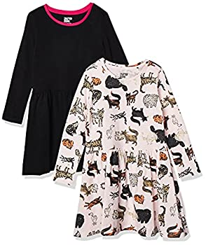 Spotted Zebra Girls  Kids Knit Long-Sleeve Play Dresses 2-Pack Cool Cat/Black Small