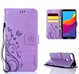 XINKO Huawei Honor 7A Hülle, Retro Blumen Muster Design -[Ultra Slim][Card Slot] Wallet Tasche Hülle für Huawei Honor 7A (Lila)