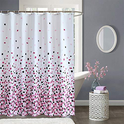 Weddecor Duschvorhang, schimmelresistent, 100 prozent Polyester, mit 12 Haken, waschbar, 180 x 200 cm, Mosaik-Rot