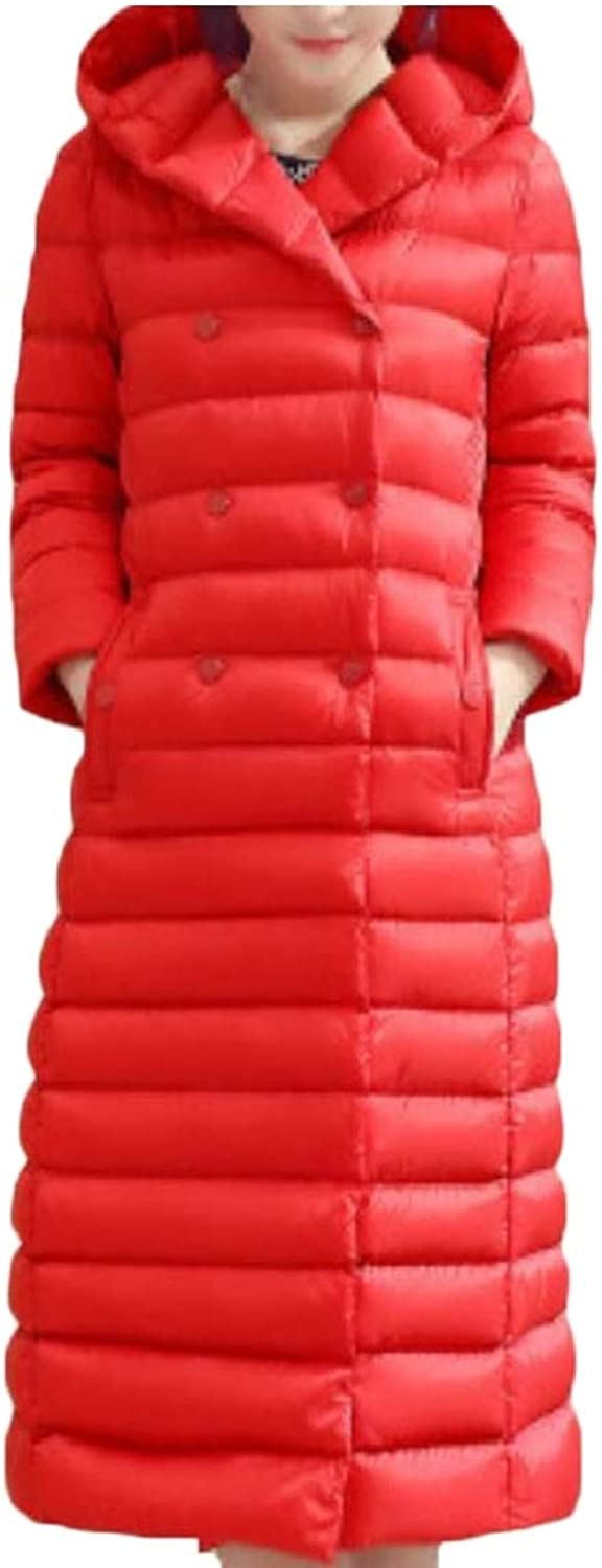 Jxfd Women's Lightweight DoubleBreasted Button Long Solid Hooded Down Coat