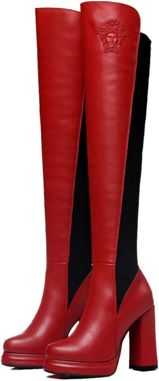 ZPFMM Damen Stiefel Stretch Plattform Schuhe Hohe Stiefeletten Hohe Hohe Hohe Stiefel Overknees Hoher Absatz Stiefel  d1f1e1