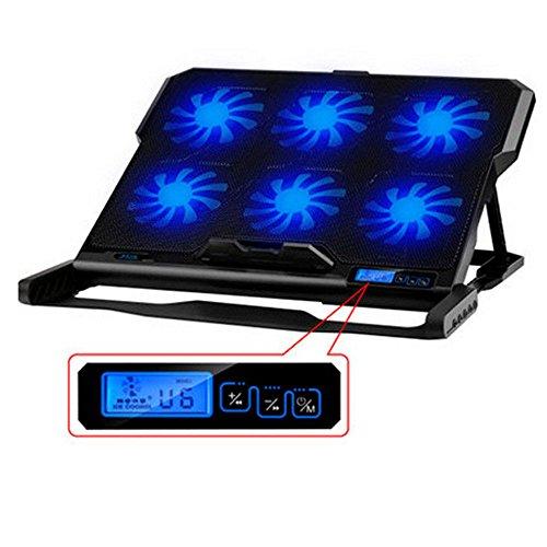 TopMate K6 - Base de refrigeración para ordenador portatil de 12 a 15,6 pulgadas con puerto usb, 6 venditadores controlable a 2800 RPM, Leds y pantalla LCD