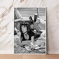 Xykshiyyパルプフィクションポスターヴィンテージプリントブラックホワイトクラシック映画写真写真レトロウォールキャンバス絵画装飾ヴィンテージプリントキャンバス/ 50x75cm(フレームなし)