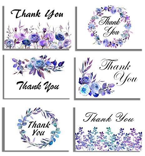 48 Thank You Cards and Envelopes, Purple Blue Floral, Blank Note Cards - Perfect for Wedding, Business, Graduation, Baby Shower, Funeral, All Occasions - 4x6 Photo Size