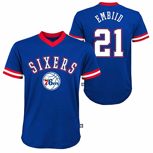 Genuine Stuff Philadelphia 76ers Youth Joel Embiid NBA Fashion V-Neck Jersey Top - Blue, Youth Large