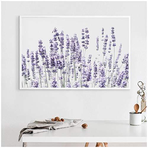 wzgsffs Póster De Flores De Lavanda Decoración Escandinava Arte De Pared Botánico Púrpura Impresión En Lienzo para Sala De Estar Hogar-24X32 Pulgadas X 1 Sin Marco