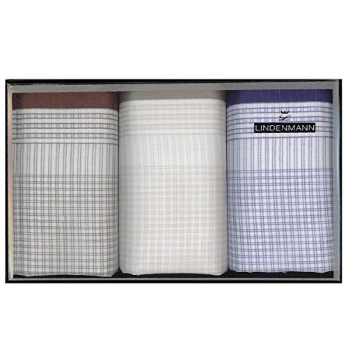 Lindenmann Handkerchiefs for men, 3-pack, brown-beige-blue, 50025-001
