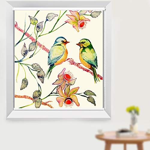 Persianas Enrollables con Estampado de Pájaros Florales, Enrollables 100% Opacas para Sala de Estar de Cocina, Protección UV a Prueba de Agua, 80cm / 100cm / 120cm / 150cm de Ancho
