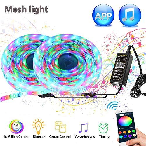 Bluetooth LED Streifen 10m RGB 600LEDs LED Streifen via App mit Timer, Sync mit Musik, Dimmbare Lichterkette IP65 Wasserdicht LED Lichtband Selbstklebende Lichtleiste für Haus, Garten, Dekoration