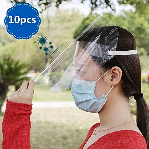Safety Pantalla Facial, Faciales Multiusos Escudo De Aislamiento Facial Completo Sombrero 10 piezas