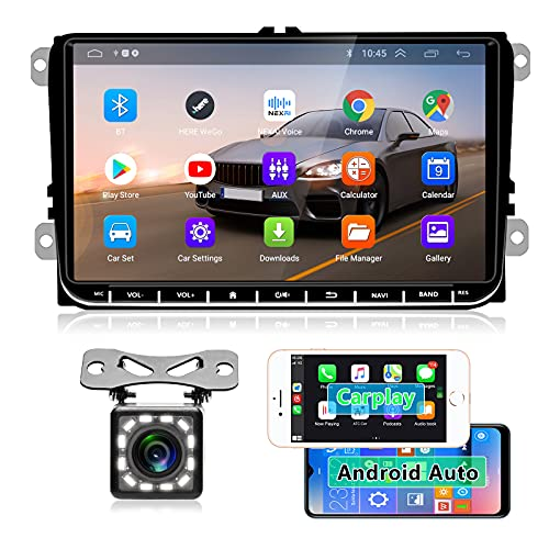 "Hodozzy Android Autoradio mit Drahtloses Carplay für VW 9\"" Touchscreen Android Auto Bluetooth Autoradio WiFi GPS FM Radio Dual USB für Golf Touran Jetta Polo Seat Sharan + CANBUS + Rückfahrkamera"
