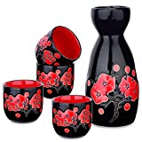Panbado Set e Bicchieri da Sakè, Set Tradizionale Giapponese con Bicchierini da Sakè in Porcellana Ceramica Artigianale Set 5 Pezzi, 1 Sake Pot, 4 Tazze di Sake, Nero