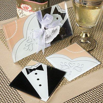 Lote de 50 Set de 2 Posavasos Cristal NOVIOS - Detalles de bodas Posavasos Posa vasos para Detalles de Bodas, Regalos y Recuerdos Baratos y Originales