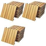 Deuba Set de 33 baldosas 'Clásicas' de madera Acacia 30x30cm por 3m² Losas de terraza para jardín balcón spa o deck