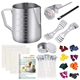 Sntieecr 113 PCS Candle Making Kit with 8 Colors Wax Candle Dye, 550ml Candle Pouring Pot, Candle Wicks,...
