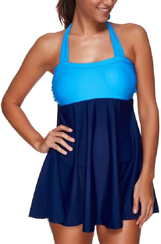 Halter Swimsuit One Piece Swim Dress Shorts Plus Size Women Beach Bikini Skirt