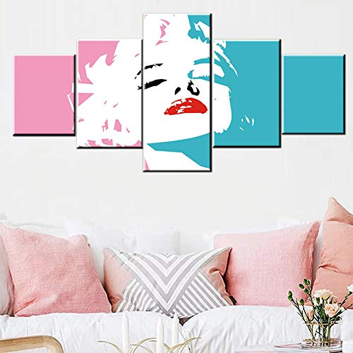 Marilyn Monroe Canvas Painting American Model Picture for Living Room Classic Movies Stars Artwork Multi Panel Wall Art Bedroom House Decor Wooden Framed Ready to Hang Posters and Prints(50''Wx24''H)