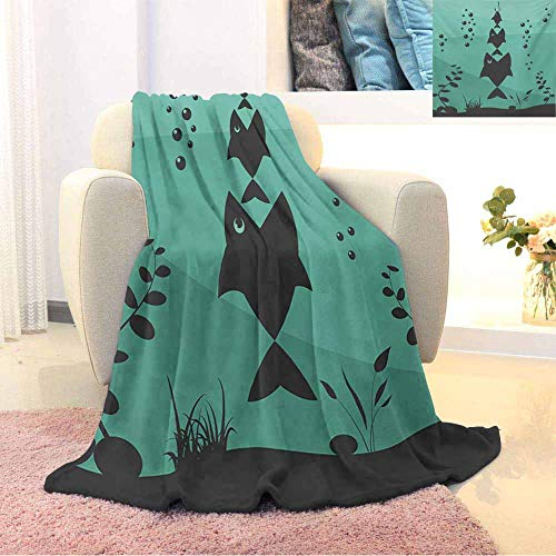 Fishing Children's Blanket Big Fish Eats Little Small in Bubbles Underwater Ocean Symbolic Icons Food Theme Lightweight Soft Warm and Comfortable W70 x L70 Inch Teal Grey