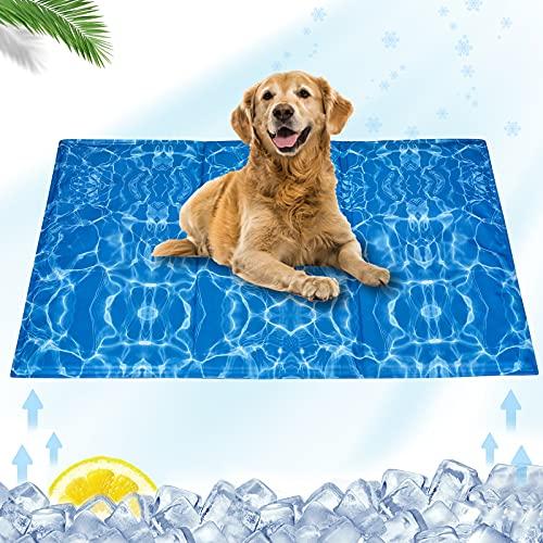 Alfombrilla de refrigeración para mascotas, cojín de refrigeración para gatos y perros, esterilla de refrigeración lavable, diseño de ondas de agua, L (90 x 50 cm)
