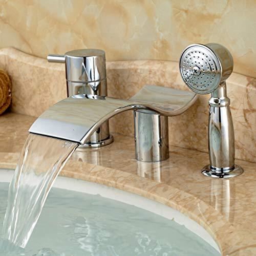 TNR® Küchenarmatur Wasserfall Badewanne Wasserhahn Einhand Mit Handbrause Duschwanne Mischbatterie Chrom Weit verbreitet