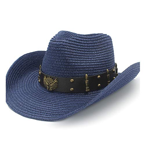 ZHANGBIN Sommer Sonnenhut Bast Hut Damen Cowboy Hut Herren Pistole Cowboy Kuh Kopf Legierung kosmetische Runde Niet Kugeln (Farbe : Blau, Größe : 58 cm)