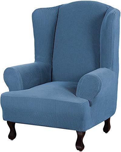 FDQNDXF Stuhl Schonbezüge Stretch Ohrensessel Schonbezug Wingback Sessel Stuhl Schonbezüge Sofabezüge 1-teilige Spandex Stoff Wing Back Wingback Sessel Stuhl Schonbezüge (Dusty Blue)