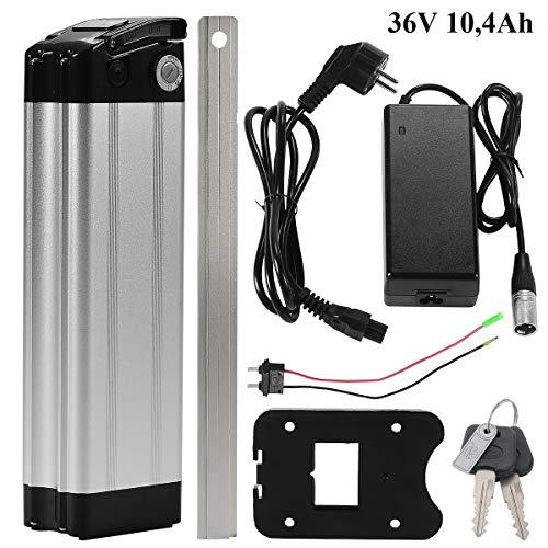 Li-ion accu 36 V 10,4Ah zitbuis batterij in zilver met oplader voor e-bike