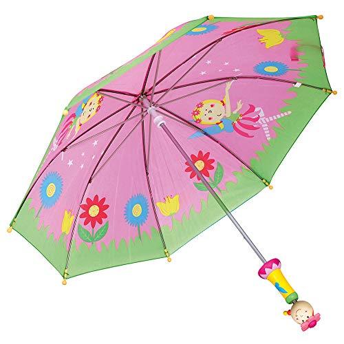 Bino & Mertens 82793 | Kinderregenschirm im Fee Design | Farbe rosa | Mit Holzgriff | Für Kinder ab 3 Jahren | 70 x 70 x 65 cm