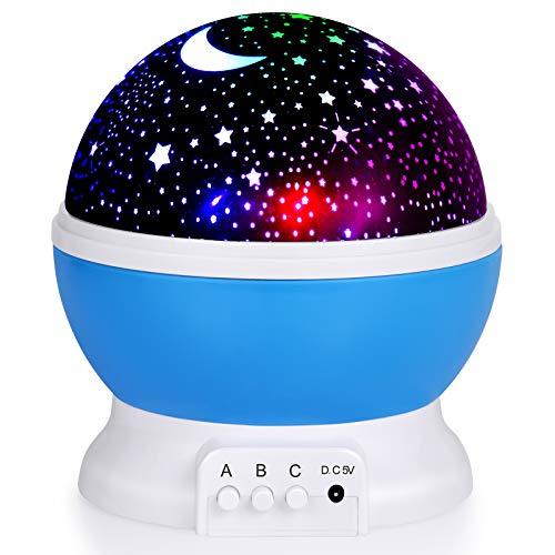 Nattlampa för barn, måne stjärnprojektor – 4 LED-lampor 8 ljusfärgbyte med USB-kabel, romantisk nattbelysning för baby barn kvinnor, julfest sovrum dekoration (blå)