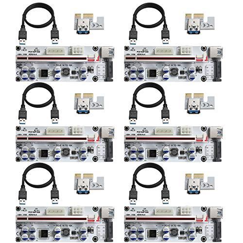 MZHOU 6 Piezas VER01010-X Tarjeta Vertical PCI-E 1X a 16X, con Cable de Extensión USB 3.0 de 0,6 m, para Minería Bitcoin Miner (Blanco)