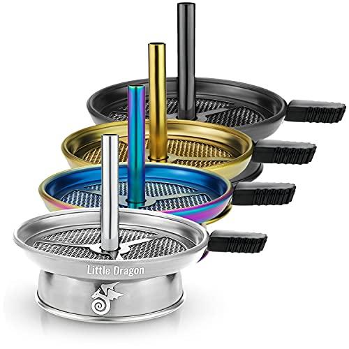 Little Dragon® Shisha Kaminaufsatz Silber - Universal aus V2A Edelstahl - Aufsatz mit Kamineffekt für Natur Kohle - Perfekte Hitzeregulierung - Die Lösung gegen verbrannten Tabak - Shisha Zubehör