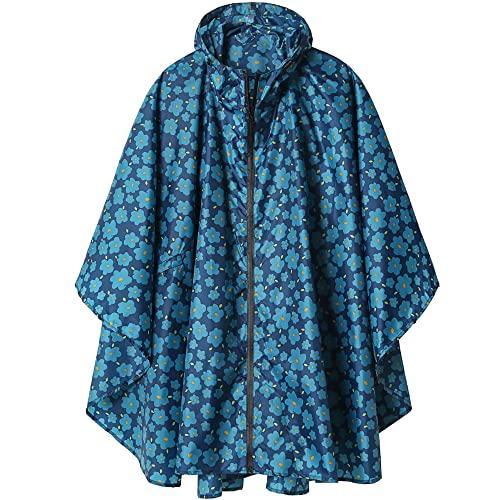 Imperméable Poncho avec Capuche Zip pour Adulte Bleu Foncé à Fleur