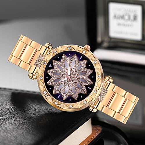 Uhr Armbanduhren Männer Damenuhren Hansee Legierter Stahlgürtel Diamantbesetzte Uhr Mit Zifferblatt Aus Spitze Watch Uhren Herrenuhr(Gold)