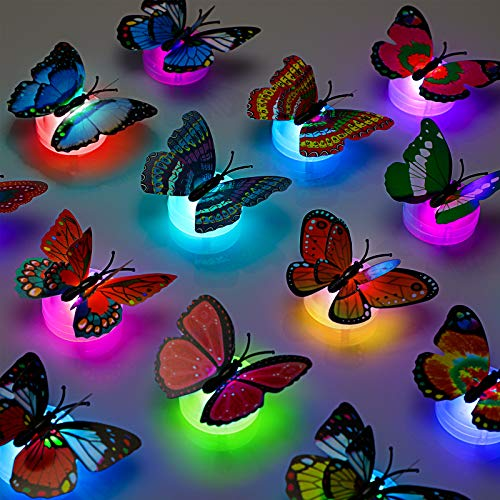3D LED Butterfly Decoration Night Light Sticker Single and Double Wall Light for Garden Backyard Lawn Party Festive Party Nursery Bedroom Living Room (24 Pieces)