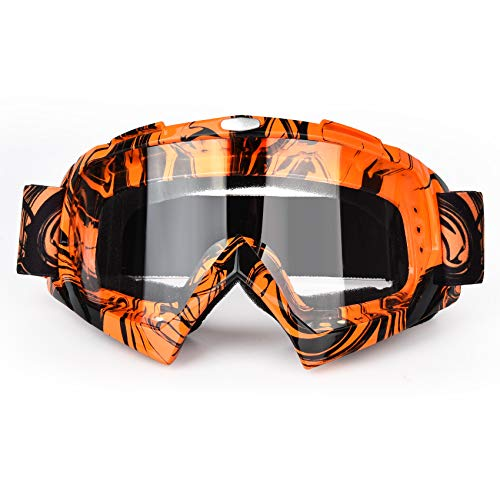 BOLLFO Motorcycle Goggles Motocross ATY Dirt Bike Goggles Anti-UV Safety Protective Anti Fog Tactical Goggles for Cycling Riding Climbing Skiing (Graffiti Frame Color Lens) (Orange Black Frame Transparent Lens)