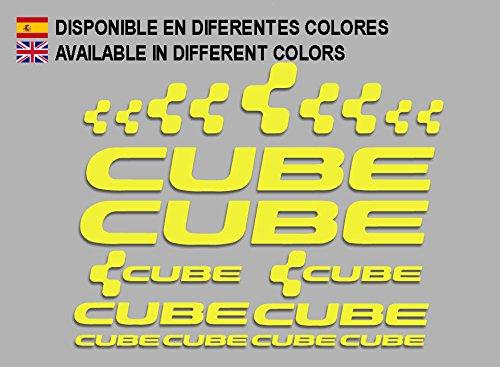 Ecoshirt 6E-MVH3-X1C8 Sticker Cube F177 Vinyl Sticker Decal Sticker MTB fiets Geel