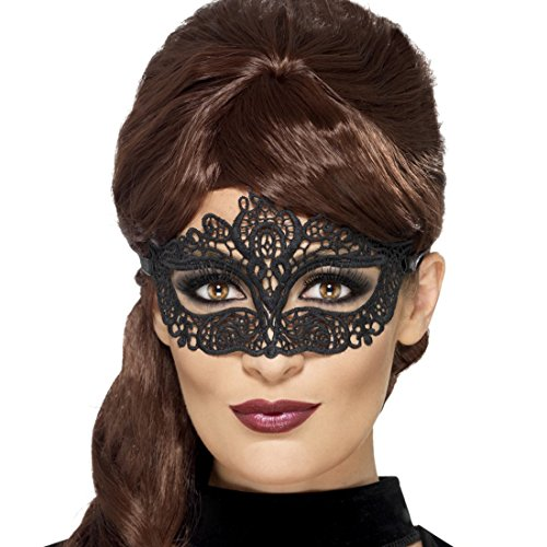NET TOYS Venezianische Augenmaske Spitzenmaske schwarz Maske Karneval Venedig Venedigmaske für Maskenball