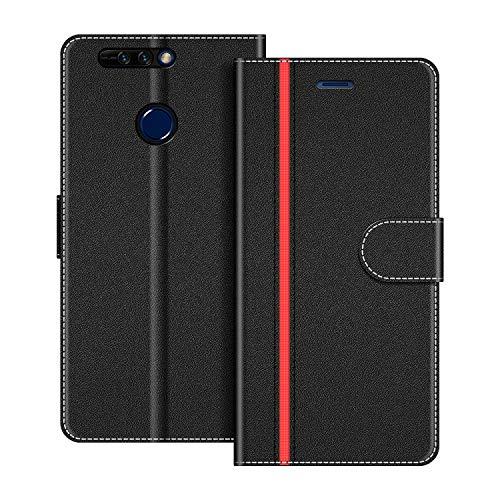 COODIO Handyhülle für Honor 8 Pro Handy Hülle, Honor 8 Pro Hülle Leder Handytasche für Huawei Honor 8 Pro Klapphülle Tasche, Schwarz/Rot