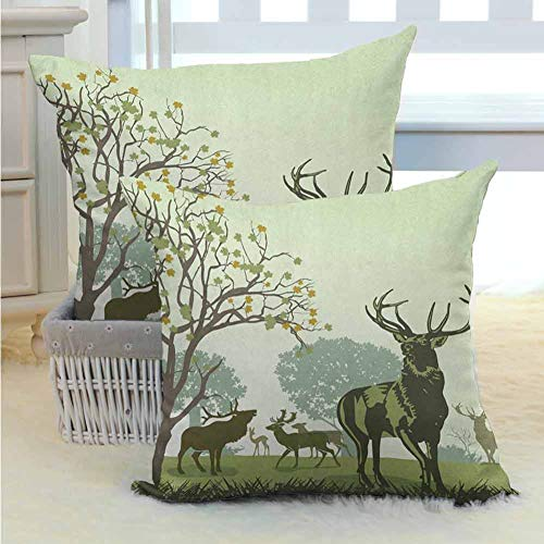 Antlers Bed Pillows Cover Deer and Wildlife in Park World Natural Heritage Forest Areas Reindeer Nature Scene Hypoallergenic - Wrinkle Resistant for Room Bedroom Room Sofa Chair Car 2PCS Green -