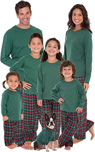 PajamaGram Matching Christmas Pjs for Family, Red/Green, LG