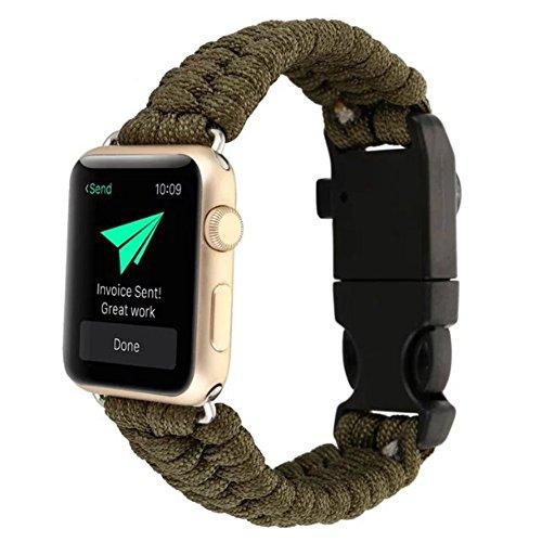 YOUMI, cinturino in corda di nylon, estremamente resistente, adatto come ricambio per orologio Apple, serie 1/2,da 42mm, con bussola verde militare