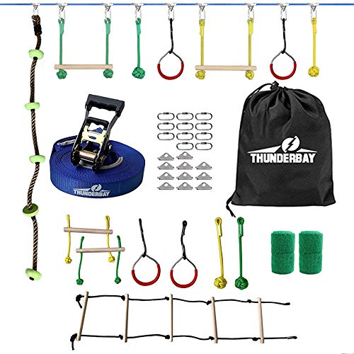 THUNDERBAY 40ft Ninja Slackline Kit Including 8 Hanging Obstacles, Adjustable Buckles, Tree Protectors and Carrying Bag