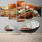 HTBYTXZ 5 Stück Burger Leinwand Malerei Speck Fleisch