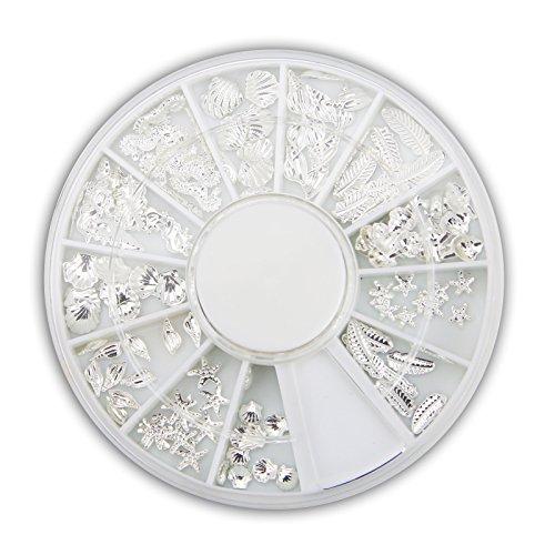 Beach-Time NailArt Overlays - Silber- Rad mit 12 Größen und Motiven